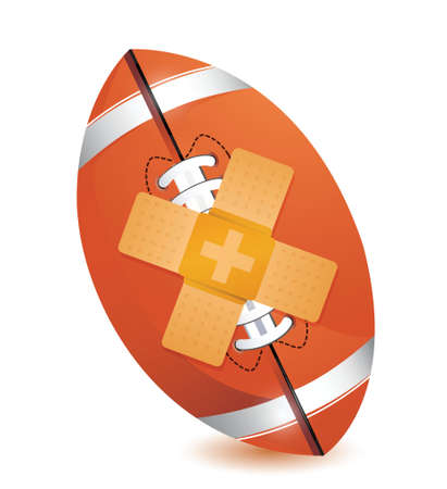 failing: football bandage fix solution concept illustration design over white background