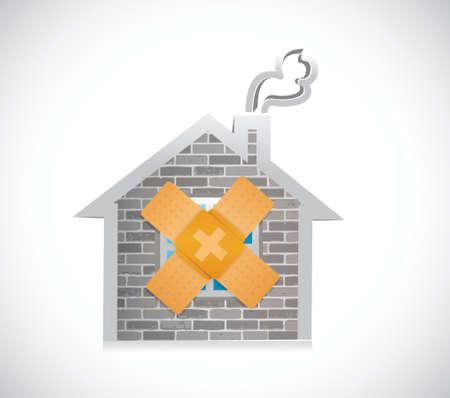thuis bandage fix oplossing concept illustratie ontwerp op een witte achtergrond Vector Illustratie