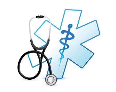medical symbols: stethoscope and medical symbol illustration design over white background