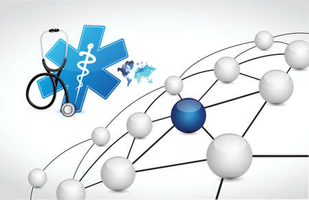 coverage: medical network connection coverage illustration design over white background