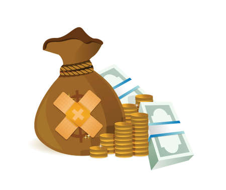 geld bandage fix oplossing concept illustratie ontwerp op een witte achtergrond