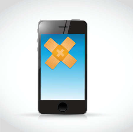 telefoon bandage fix oplossing concept illustratie ontwerp op een witte achtergrond