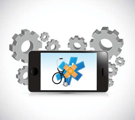 holding smart phone: phone medical bandage fix solution concept illustration design over white background