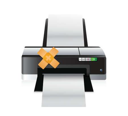 printer band aid fix solution concept illustration design over white background Vettoriali