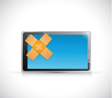 tablet band hulp fix oplossing concept illustratie ontwerp op een witte achtergrond