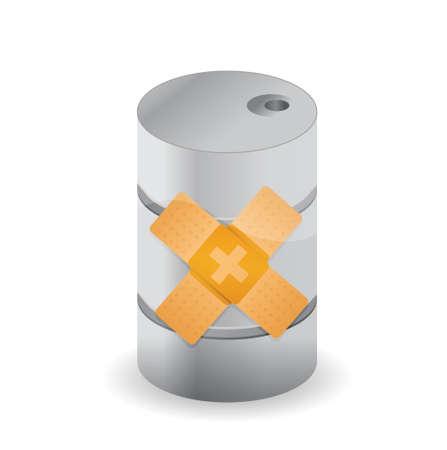 barril de petr�leo: dise�o del barril de petr�leo curita soluci�n de arreglo ilustraci�n del concepto sobre el fondo blanco