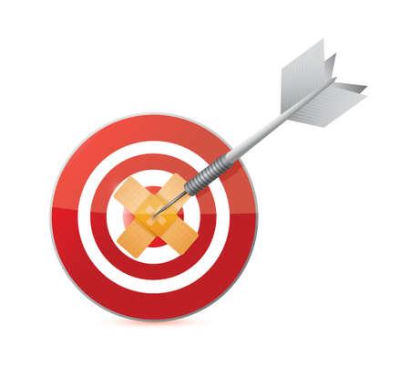 doelwit bandage fix oplossing concept illustratie ontwerp op een witte achtergrond