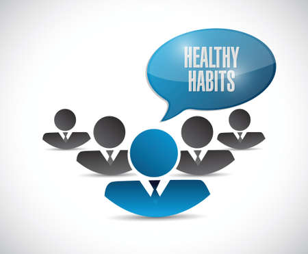 eating habits: healthy habits people sign concept illustration design over white Illustration