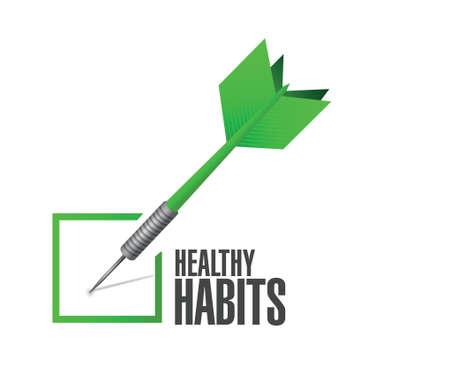 eating habits: healthy habits check dart sign concept illustration design over white