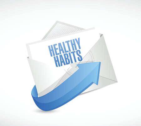 eating habits: healthy habits email sign concept illustration design over white