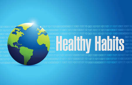 habits: healthy habits globe sign concept illustration design over blue Illustration
