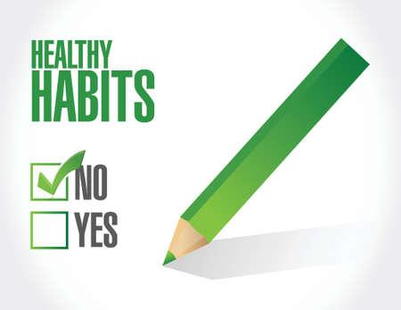 buena salud: sin hábitos saludables firman el concepto de diseño ilustración más de blanco