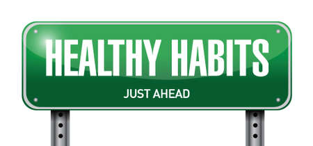 healthy habits road sign concept illustration design over white