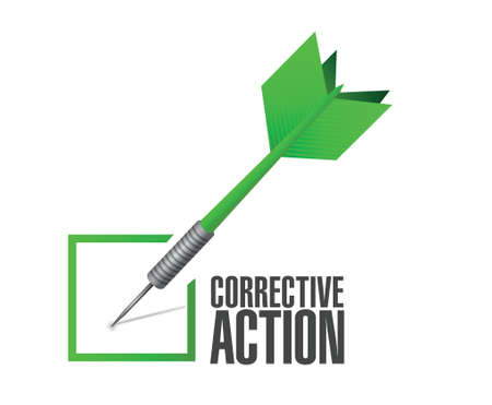 corrective: corrective action check dart sign illustration design over white background