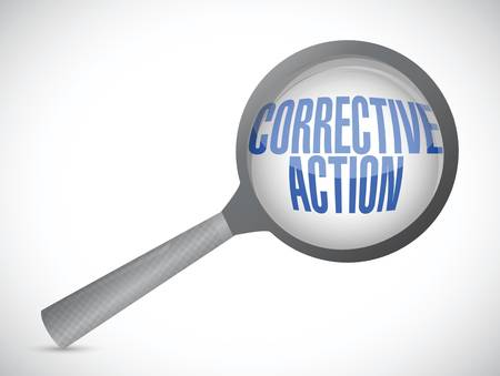 corrective: corrective action magnify sign illustration design over white background