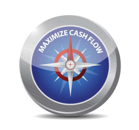maximize: maximize cash flow compass sign illustration design over white background