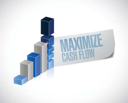 maximize cash flow business graph sign illustration design over white background