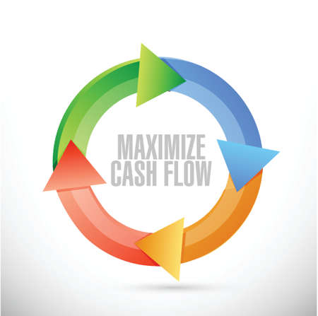 cash cycle: maximize cash flow cycle sign illustration design over white background