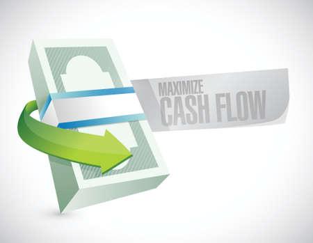 maximize cash flow money sign illustration design over white background