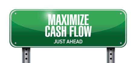 maximize: maximize cash flow street sign illustration design over white background Illustration