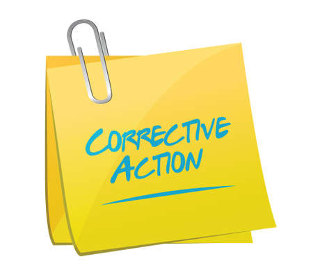 corrective: corrective action memo post sign illustration design over white
