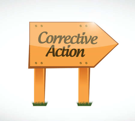 corrective: corrective action wood sign illustration design over white Illustration