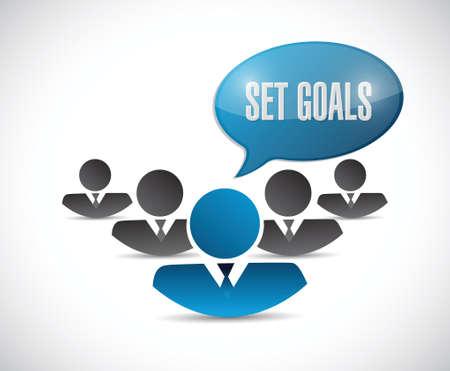accomplishing: set goals business team sign concept illustration design over white Illustration