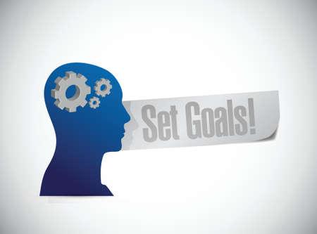 accomplishing: set goals people sign concept illustration design over white Illustration
