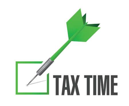 taxation: tax time check dart sign illustration design over white Illustration