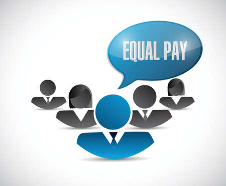 equal opportunity: equal pay people sign illustration design over white