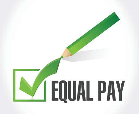 equal pay check mark sign illustration design over white Illustration