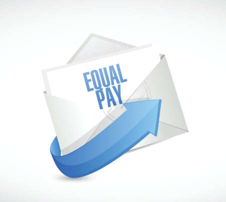 equal opportunity: equal pay email sign illustration design over white