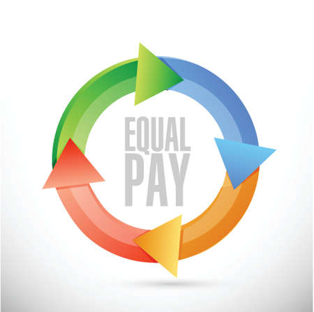 fairness: equal pay cycle sign illustration design over white