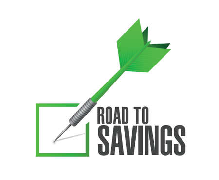 violation: road to savings check dart sign illustration design over white Illustration