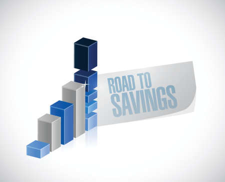 road to savings business graph sign illustration design over white