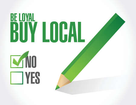 regional product: not buy local button sign illustration design over a white background