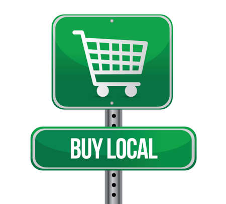 buy local shopping cart sign illustration design over a white background