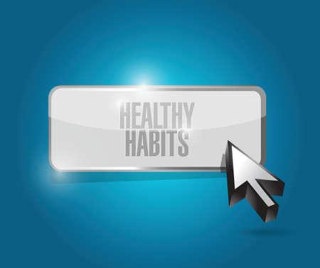 habitos saludables: hábitos saludables concepto ilustración signo botón del diseño sobre azul