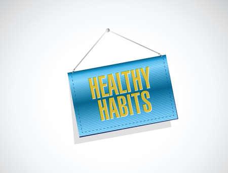 healthy habits banner sign concept illustration design over white Vector
