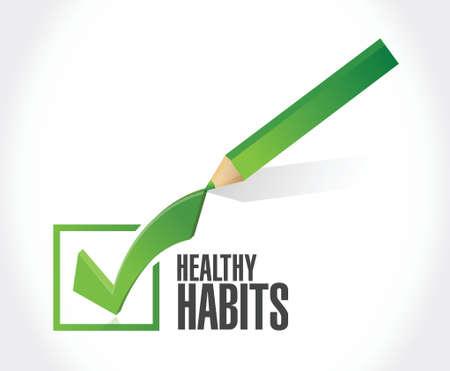 habitos saludables: hábitos saludables comprobar marca de ilustración del concepto de diseño signo más de blanco Vectores