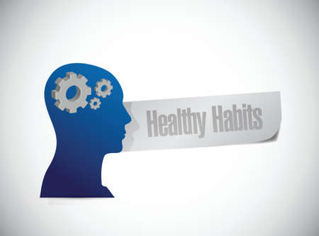 well being: healthy habits brain sign concept illustration design over white