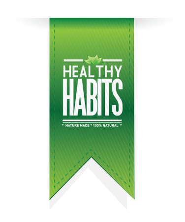 buena salud: hábitos saludables concepto ilustración muestra la bandera de diseño sobre blanco