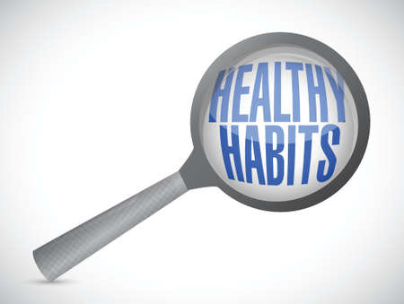 moderation: healthy habits magnify glass sign concept illustration design over white