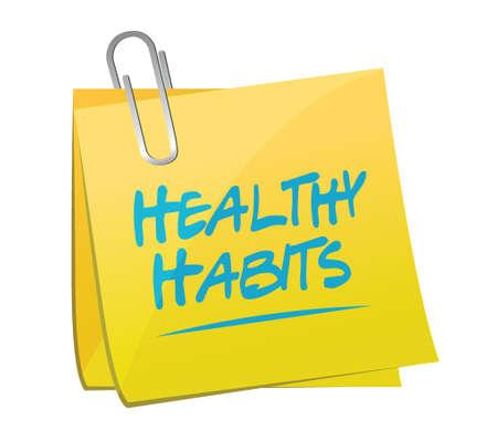 habitos saludables: hábitos saludables concepto de ilustración signo de post memo diseño sobre blanco