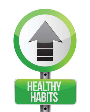 eating habits: healthy habits road sign concept illustration design over white