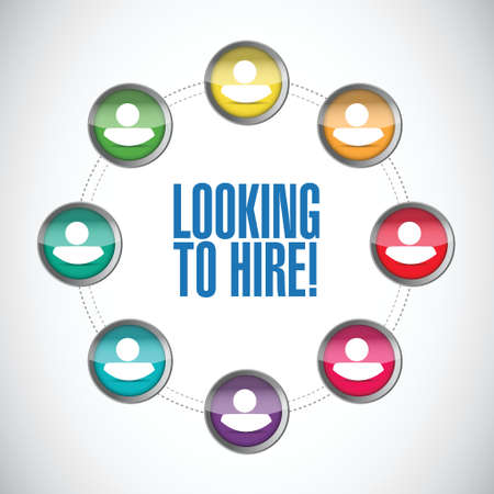 employed: looking to hire people network concept illustration design over white