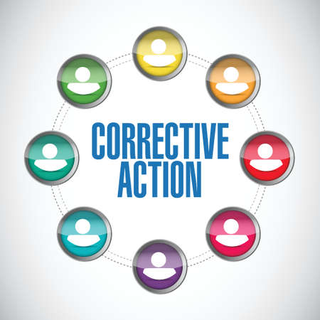 corrective: corrective action people team sign illustration design over white background