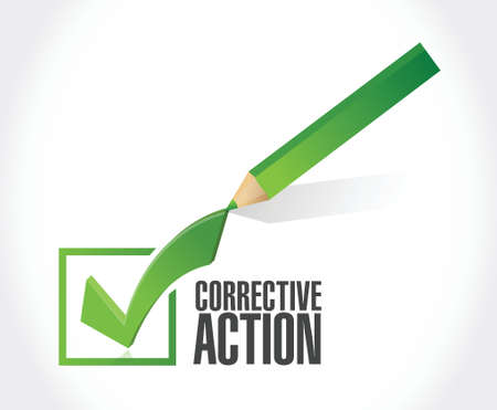 corrective: corrective action check mark sign illustration design over white background Illustration