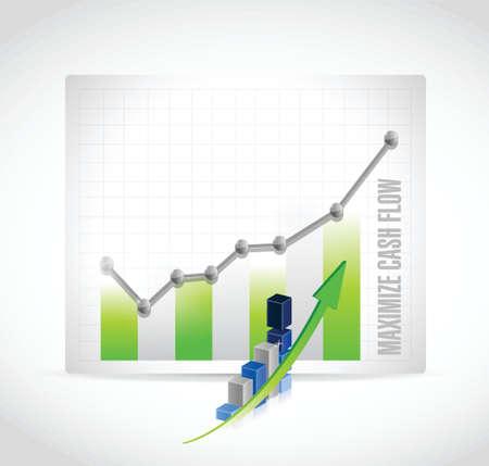 maximize: maximize cash flow business graph sign illustration design over white background