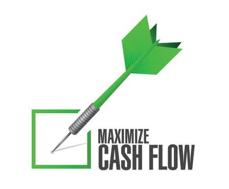 maximizar el flujo de efectivo cheque dardo signo ilustración, diseño sobre fondo blanco Ilustración de vector